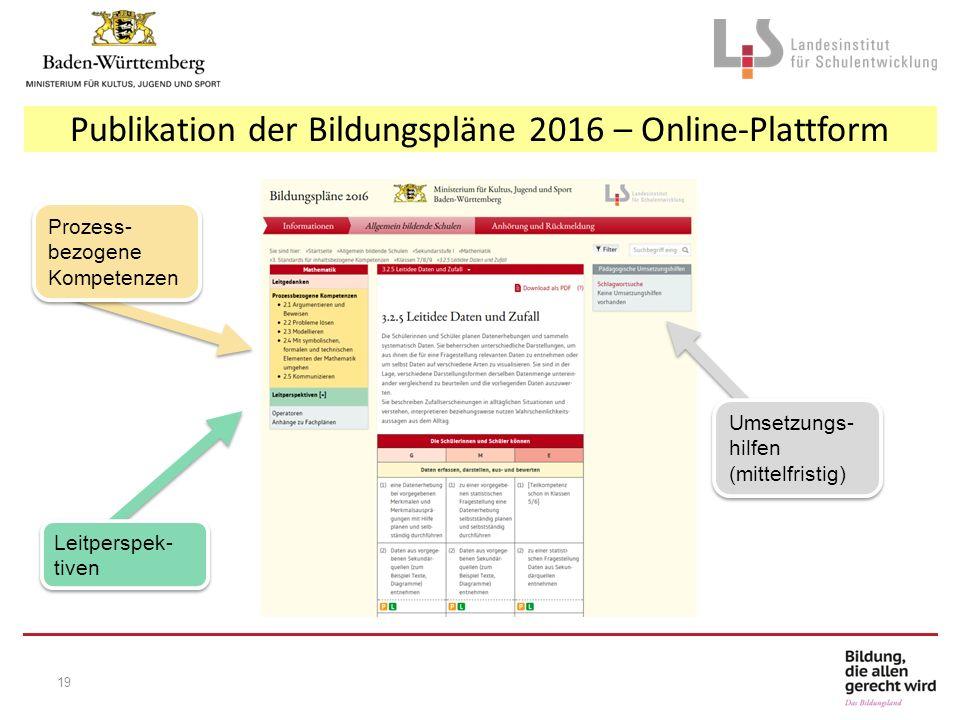 Publikation der Bildungspläne 2016 – Online-Plattform Prozess- bezogene Kompetenzen Leitperspek- tiven Umsetzungs- hilfen (mittelfristig) 19