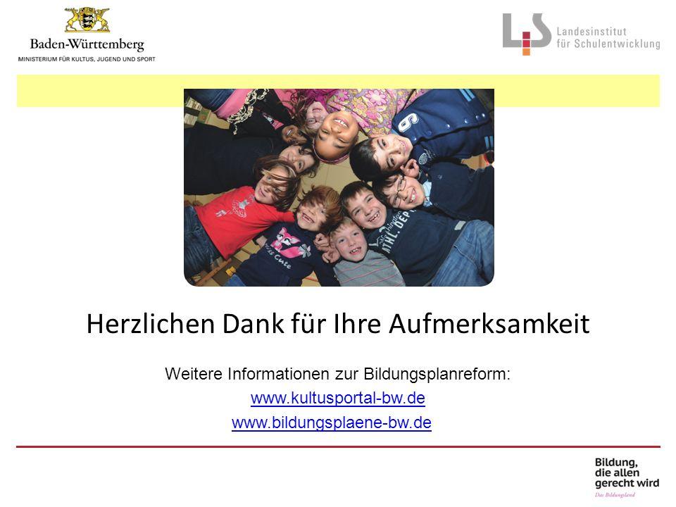 Herzlichen Dank für Ihre Aufmerksamkeit Weitere Informationen zur Bildungsplanreform: www.kultusportal-bw.de www.bildungsplaene-bw.de