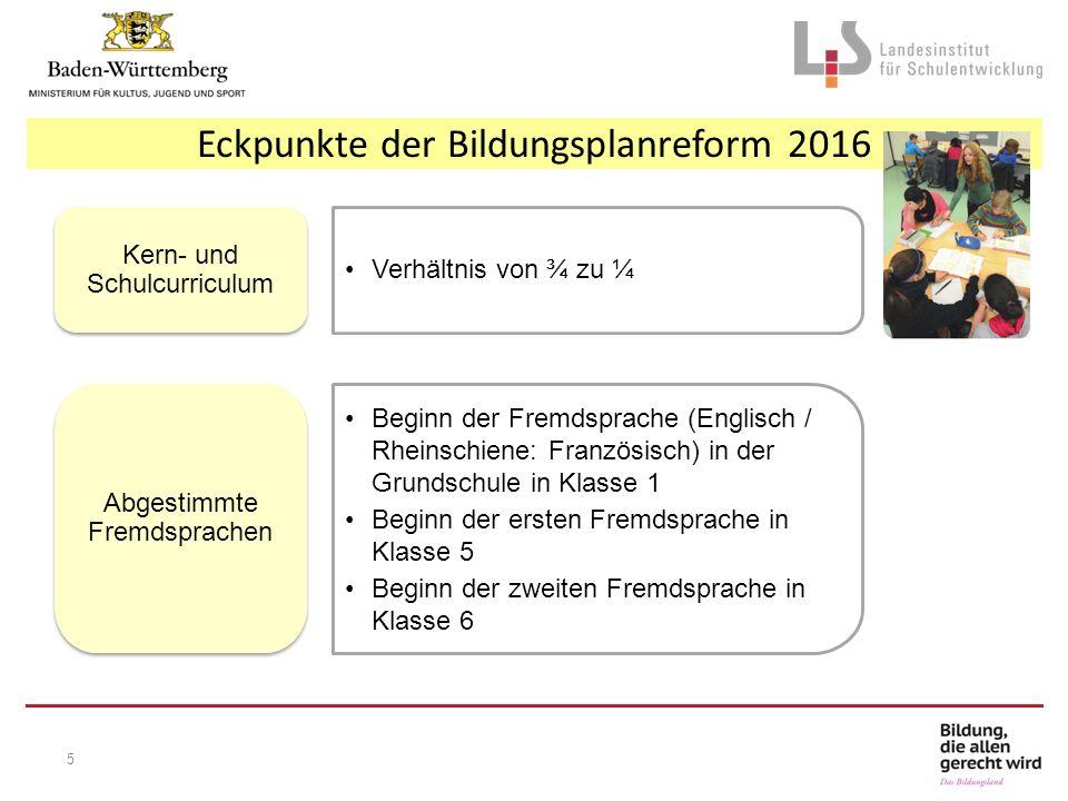 Eckpunkte der Bildungsplanreform 2016 Verhältnis von ¾ zu ¼ Kern- und Schulcurriculum Beginn der Fremdsprache (Englisch / Rheinschiene: Französisch) i