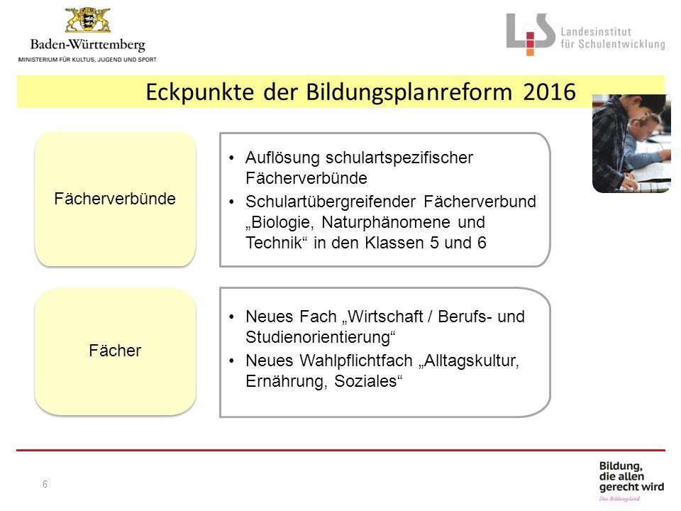"""Eckpunkte der Bildungsplanreform 2016 Auflösung schulartspezifischer Fächerverbünde Schulartübergreifender Fächerverbund """"Biologie, Naturphänomene und"""
