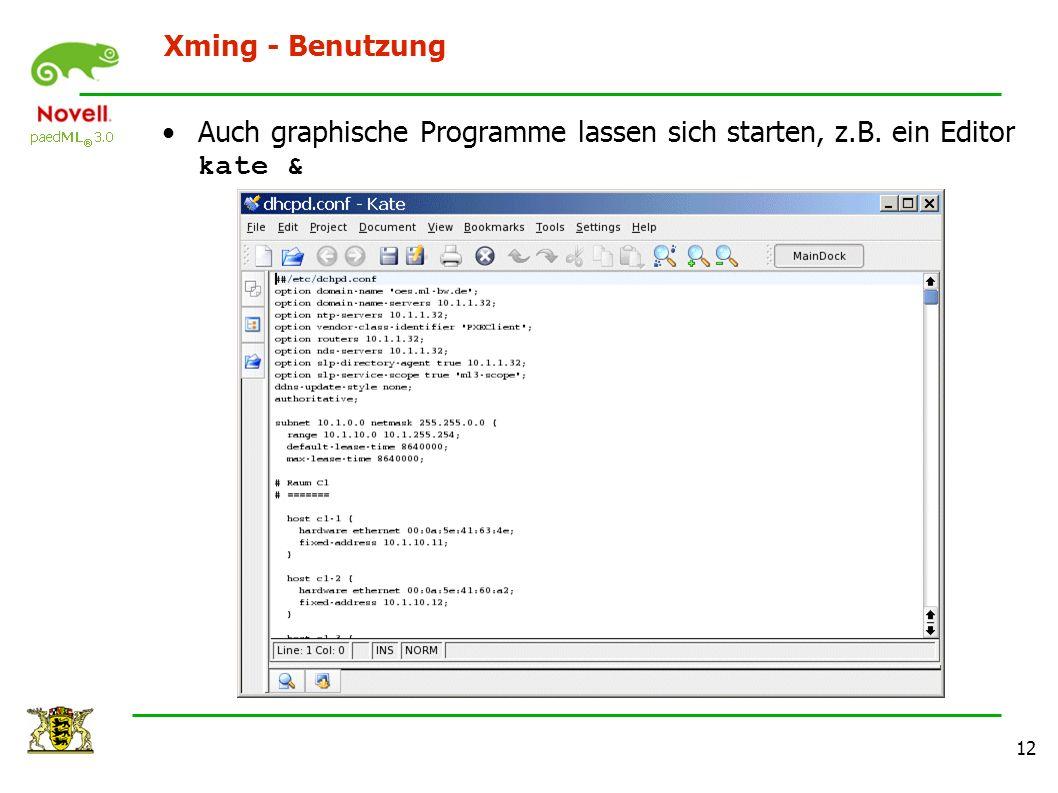 12 Xming - Benutzung Auch graphische Programme lassen sich starten, z.B. ein Editor kate &