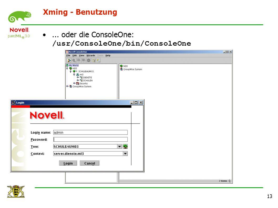 13 Xming - Benutzung... oder die ConsoleOne: /usr/ConsoleOne/bin/ConsoleOne