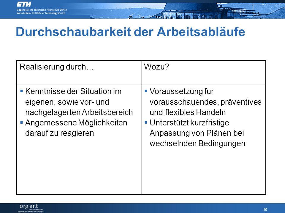 10 Durchschaubarkeit der Arbeitsabläufe Realisierung durch…Wozu.