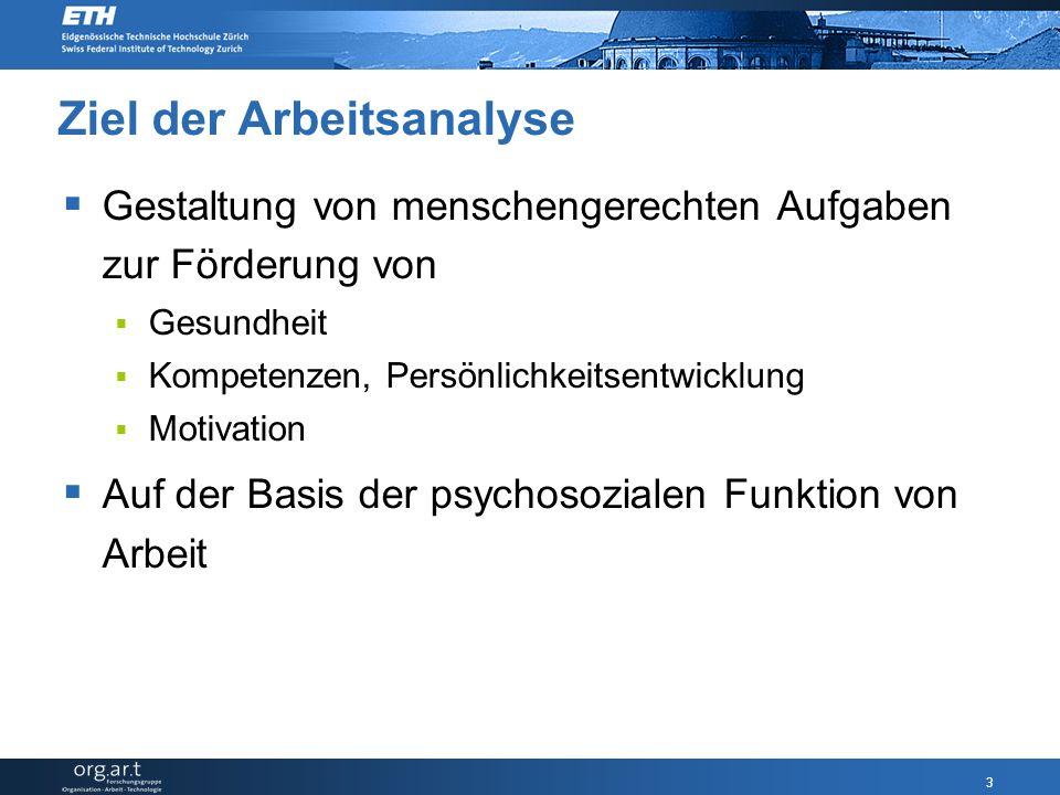3 Ziel der Arbeitsanalyse  Gestaltung von menschengerechten Aufgaben zur Förderung von  Gesundheit  Kompetenzen, Persönlichkeitsentwicklung  Motivation  Auf der Basis der psychosozialen Funktion von Arbeit