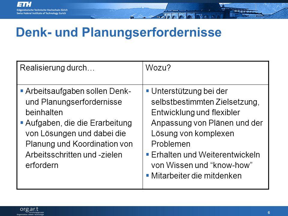 6 Denk- und Planungserfordernisse Realisierung durch…Wozu.