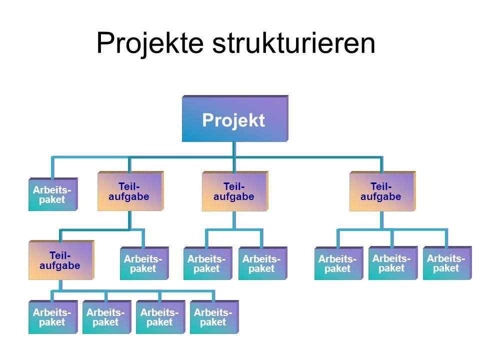 Projekte strukturieren Arbeits- paket Teil- aufgabe Projekt