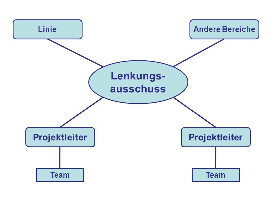 Lenkungs- ausschuss Linie Projektleiter Andere Bereiche Team