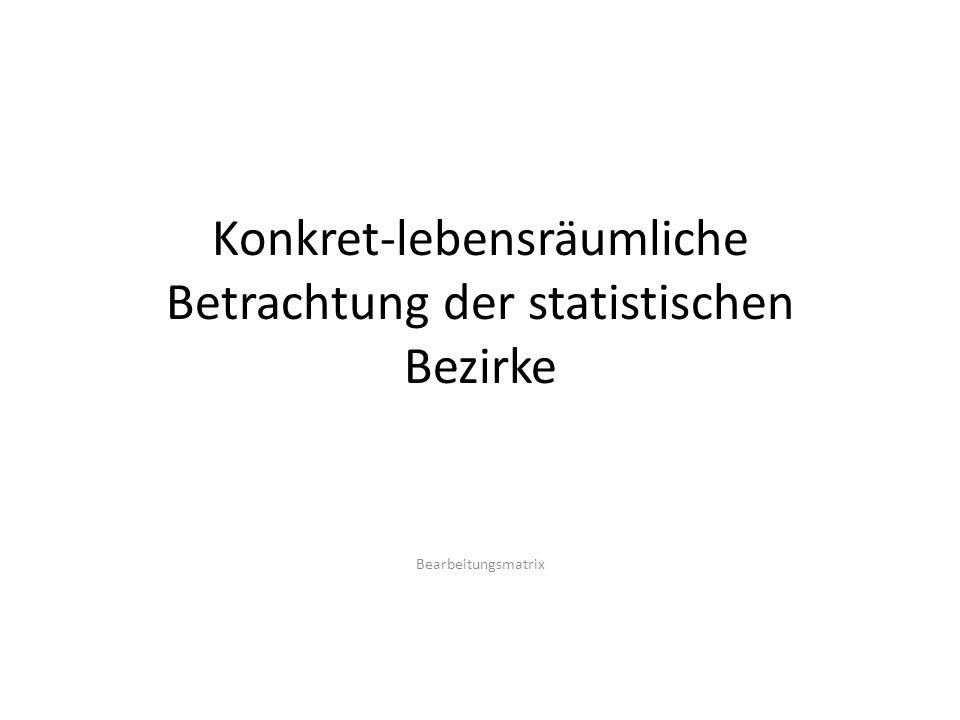 Konkret-lebensräumliche Betrachtung der statistischen Bezirke Bearbeitungsmatrix