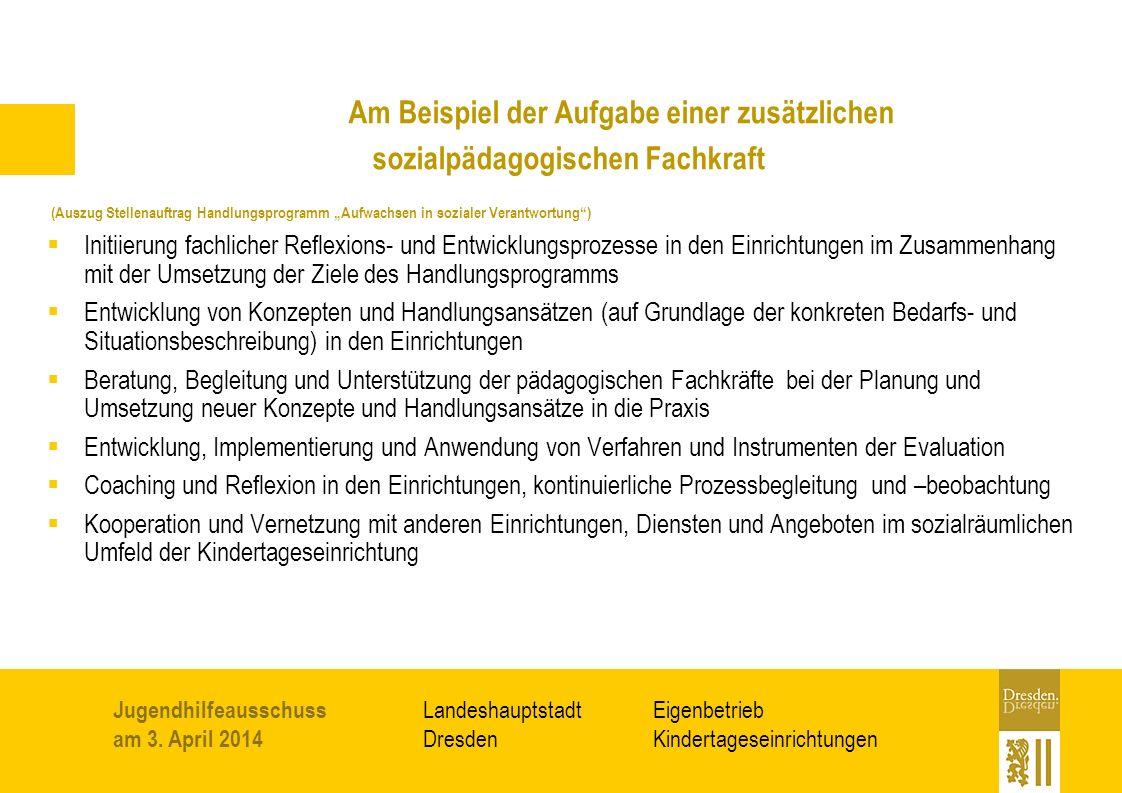 Eigenbetrieb Kindertageseinrichtungen Landeshauptstadt Dresden Jugendhilfeausschuss am 3.
