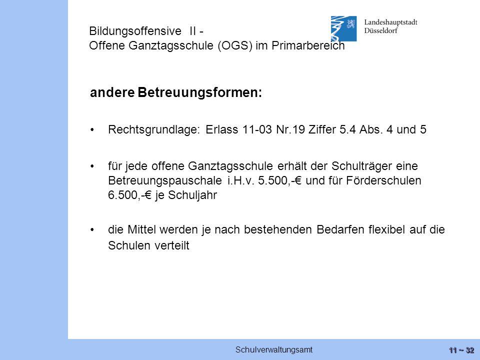 11 ~ 32 Schulverwaltungsamt Bildungsoffensive II - Offene Ganztagsschule (OGS) im Primarbereich andere Betreuungsformen: Rechtsgrundlage: Erlass 11-03 Nr.19 Ziffer 5.4 Abs.