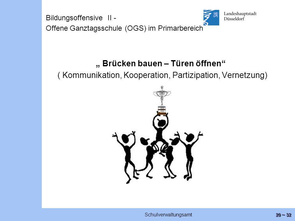 """20 ~ 32 Schulverwaltungsamt """" Brücken bauen – Türen öffnen ( Kommunikation, Kooperation, Partizipation, Vernetzung) Bildungsoffensive II - Offene Ganztagsschule (OGS) im Primarbereich"""