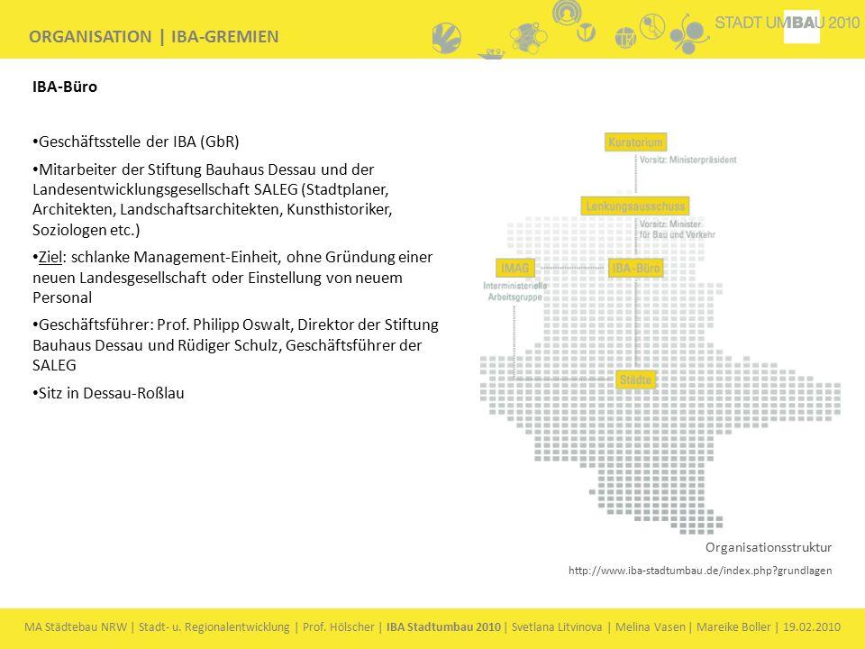 MA Städtebau NRW | Stadt- u. Regionalentwicklung | Prof. Hölscher | IBA Stadtumbau 2010 | Svetlana Litvinova | Melina Vasen | Mareike Boller | 19.02.2