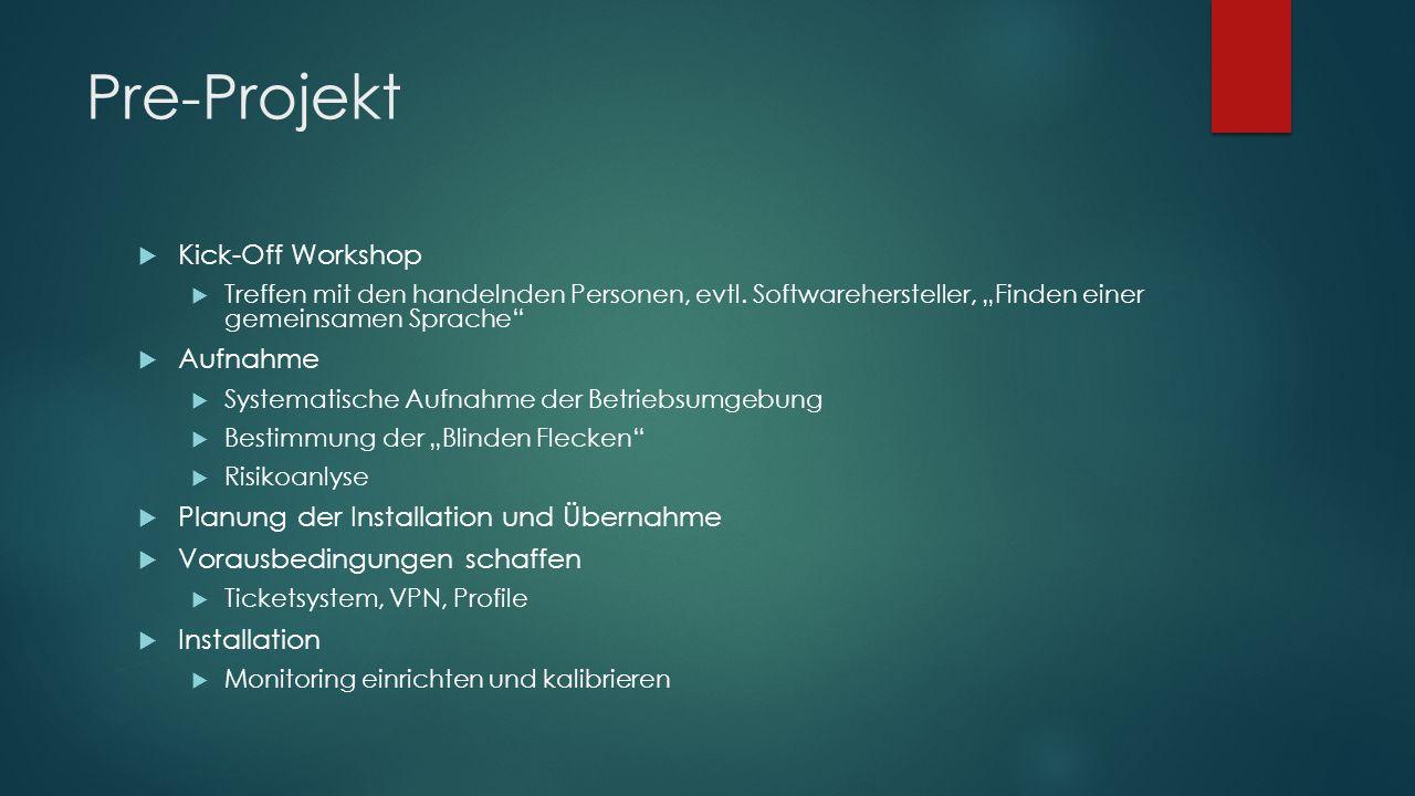 """Pre-Projekt  Kick-Off Workshop  Treffen mit den handelnden Personen, evtl. Softwarehersteller, """"Finden einer gemeinsamen Sprache""""  Aufnahme  Syste"""