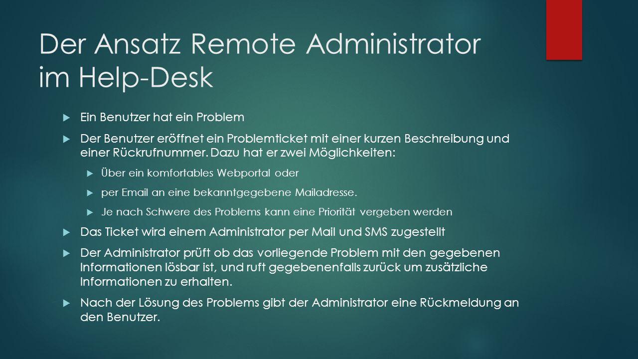 Der Ansatz Remote Administrator im Help-Desk  Ein Benutzer hat ein Problem  Der Benutzer eröffnet ein Problemticket mit einer kurzen Beschreibung un