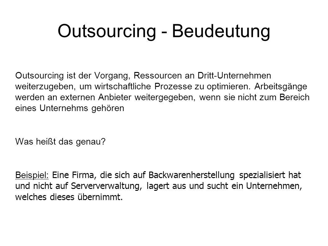 Outsourcing - Beudeutung Outsourcing ist der Vorgang, Ressourcen an Dritt-Unternehmen weiterzugeben, um wirtschaftliche Prozesse zu optimieren.