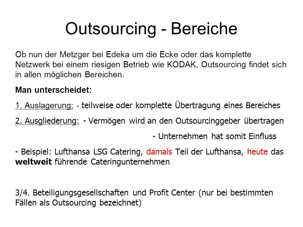 Outsourcing - Bereiche Ob nun der Metzger bei Edeka um die Ecke oder das komplette Netzwerk bei einem riesigen Betrieb wie KODAK, Outsourcing findet sich in allen möglichen Bereichen.