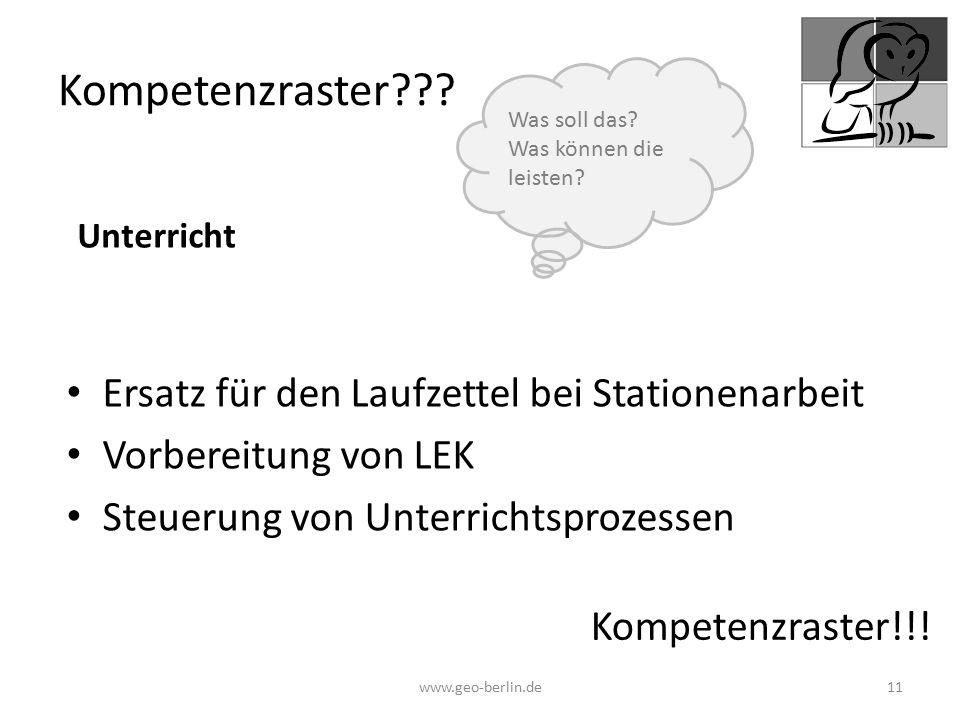 Kompetenzraster??? Ersatz für den Laufzettel bei Stationenarbeit Vorbereitung von LEK Steuerung von Unterrichtsprozessen www.geo-berlin.de 11 Kompeten