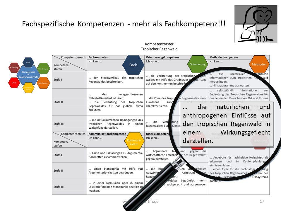 www.geo-berlin.de 17 … die natürlichen und anthropogenen Einflüsse auf den tropischen Regenwald in einem Wirkungsgeflecht darstellen. Fachspezifische