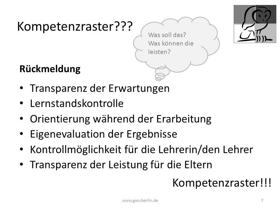 Kompetenzraster??? Transparenz der Erwartungen Lernstandskontrolle Orientierung während der Erarbeitung Eigenevaluation der Ergebnisse Kontrollmöglich