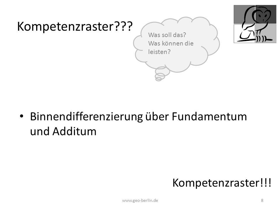 Kompetenzraster??? Binnendifferenzierung über Fundamentum und Additum www.geo-berlin.de 8 Kompetenzraster!!! Was soll das? Was können die leisten?