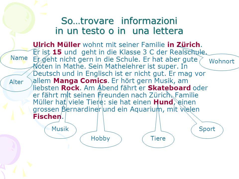 So…trovare informazioni in un testo o in una lettera Ulrich Müller wohnt mit seiner Familie in Zürich.