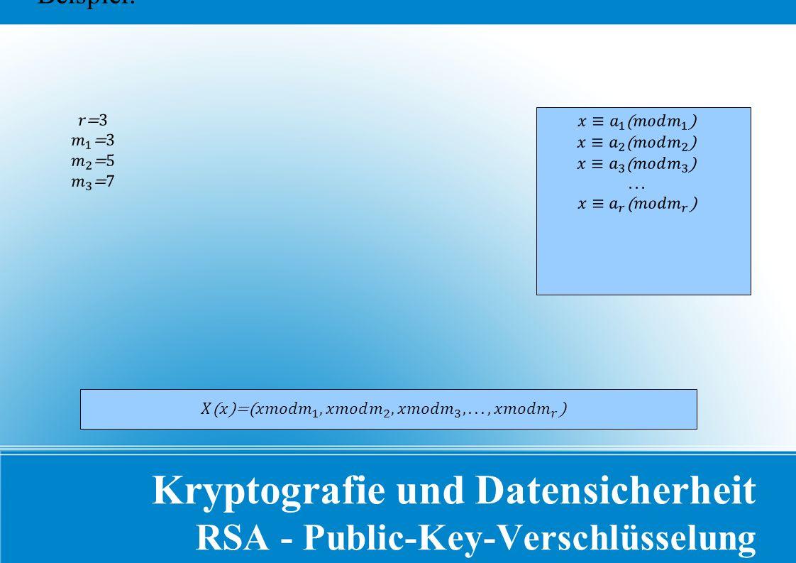 Kryptografie und Datensicherheit RSA - Public-Key-Verschlüsselung Beispiel: