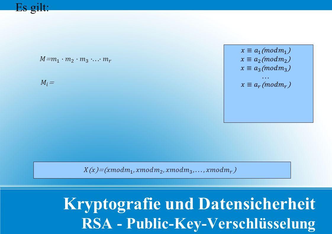 Kryptografie und Datensicherheit RSA - Public-Key-Verschlüsselung Es gilt: