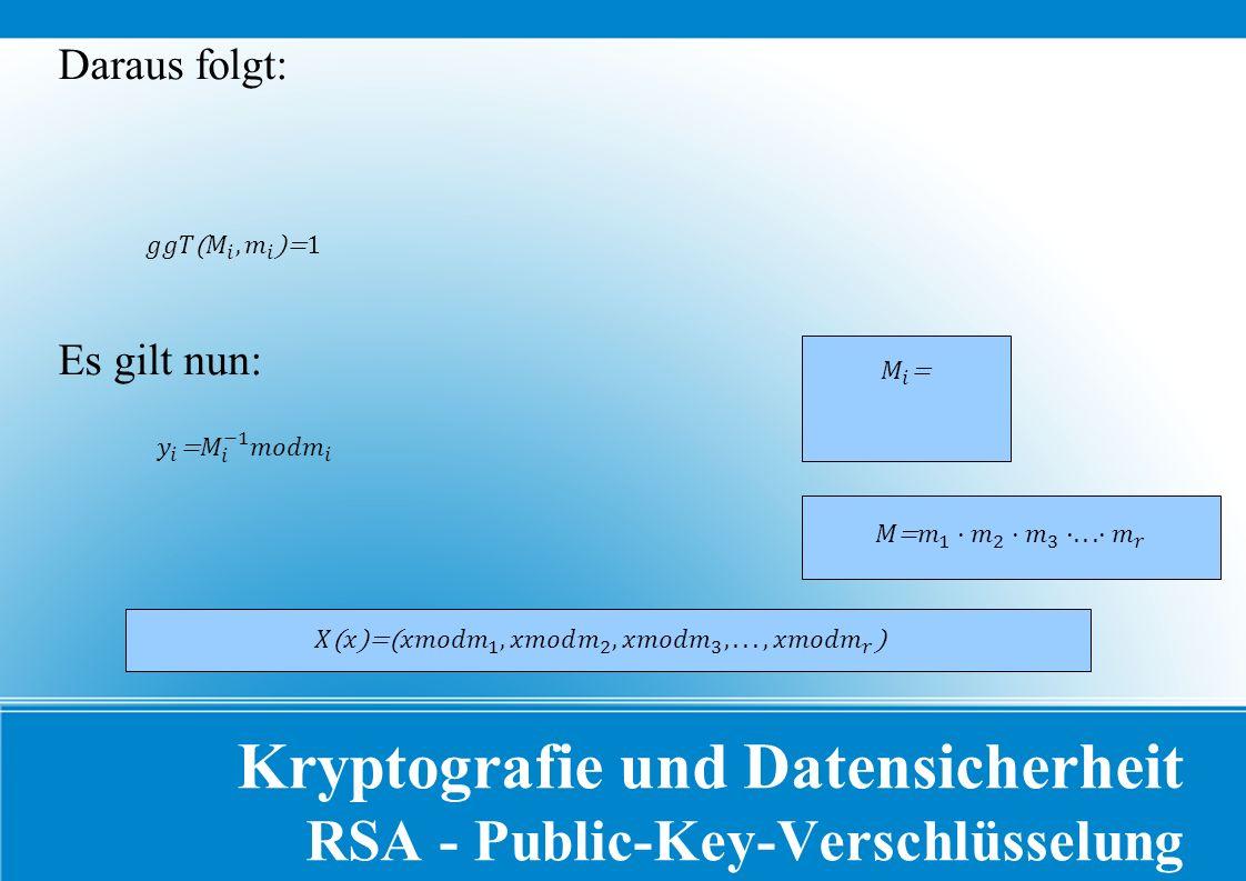 Kryptografie und Datensicherheit RSA - Public-Key-Verschlüsselung Daraus folgt: Es gilt nun: