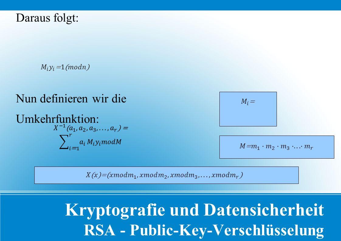 Kryptografie und Datensicherheit RSA - Public-Key-Verschlüsselung Daraus folgt: Nun definieren wir die Umkehrfunktion: