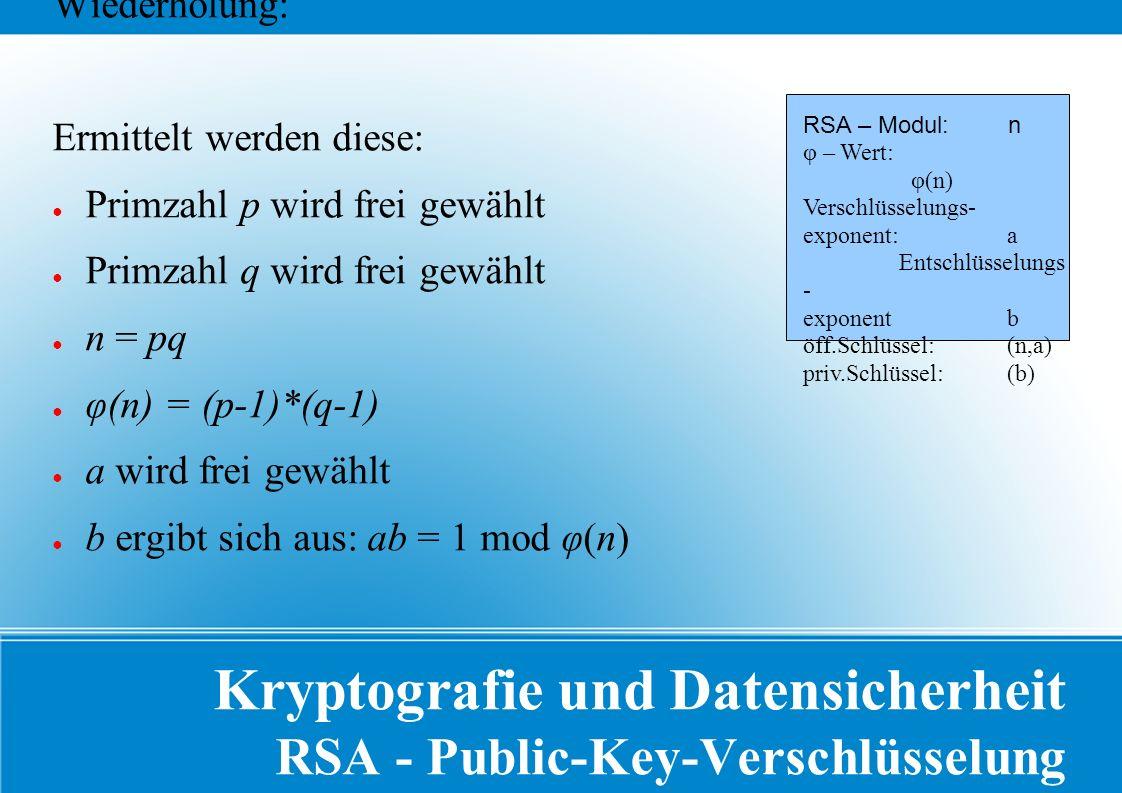 Kryptografie und Datensicherheit RSA - Public-Key-Verschlüsselung Wiederholung: Ermittelt werden diese: ● Primzahl p wird frei gewählt ● Primzahl q wird frei gewählt ● n = pq ● φ(n) = (p-1)*(q-1) ● a wird frei gewählt ● b ergibt sich aus: ab = 1 mod φ(n) RSA – Modul: n φ – Wert: φ(n) Verschlüsselungs- exponent: a Entschlüsselungs - exponent b öff.Schlüssel: (n,a) priv.Schlüssel: (b)