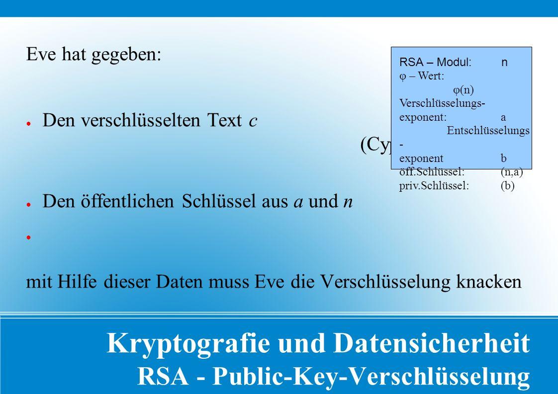 Kryptografie und Datensicherheit RSA - Public-Key-Verschlüsselung Eve hat gegeben: ● Den verschlüsselten Text c (Cyphertext) ● Den öffentlichen Schlüssel aus a und n ● mit Hilfe dieser Daten muss Eve die Verschlüsselung knacken RSA – Modul: n φ – Wert: φ(n) Verschlüsselungs- exponent: a Entschlüsselungs - exponent b öff.Schlüssel: (n,a) priv.Schlüssel: (b)