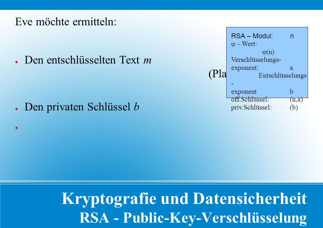Kryptografie und Datensicherheit RSA - Public-Key-Verschlüsselung Eve möchte ermitteln: ● Den entschlüsselten Text m (Plaintext) ● Den privaten Schlüssel b RSA – Modul: n φ – Wert: φ(n) Verschlüsselungs- exponent: a Entschlüsselungs - exponent b öff.Schlüssel: (n,a) priv.Schlüssel: (b)