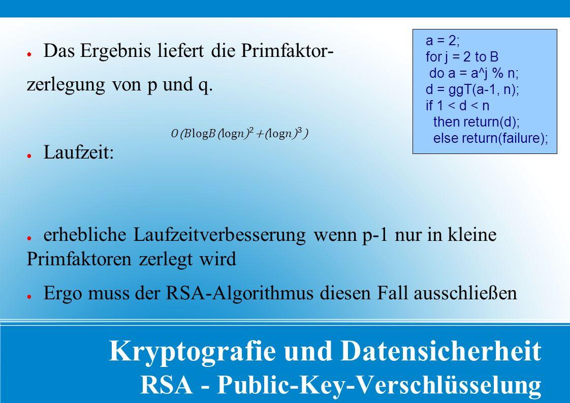 Kryptografie und Datensicherheit RSA - Public-Key-Verschlüsselung ● Das Ergebnis liefert die Primfaktor- zerlegung von p und q.
