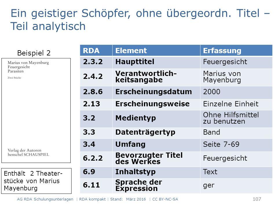 107 RDAElementErfassung 2.3.2HaupttitelFeuergesicht 2.4.2 Verantwortlich- keitsangabe Marius von Mayenburg 2.8.6Erscheinungsdatum2000 2.13ErscheinungsweiseEinzelne Einheit 3.2Medientyp Ohne Hilfsmittel zu benutzen 3.3DatenträgertypBand 3.4UmfangSeite 7-69 6.2.2 Bevorzugter Titel des Werkes Feuergesicht 6.9InhaltstypText 6.11 Sprache der Expression ger Enthält 2 Theater- stücke von Marius Mayenburg Ein geistiger Schöpfer, ohne übergeordn.