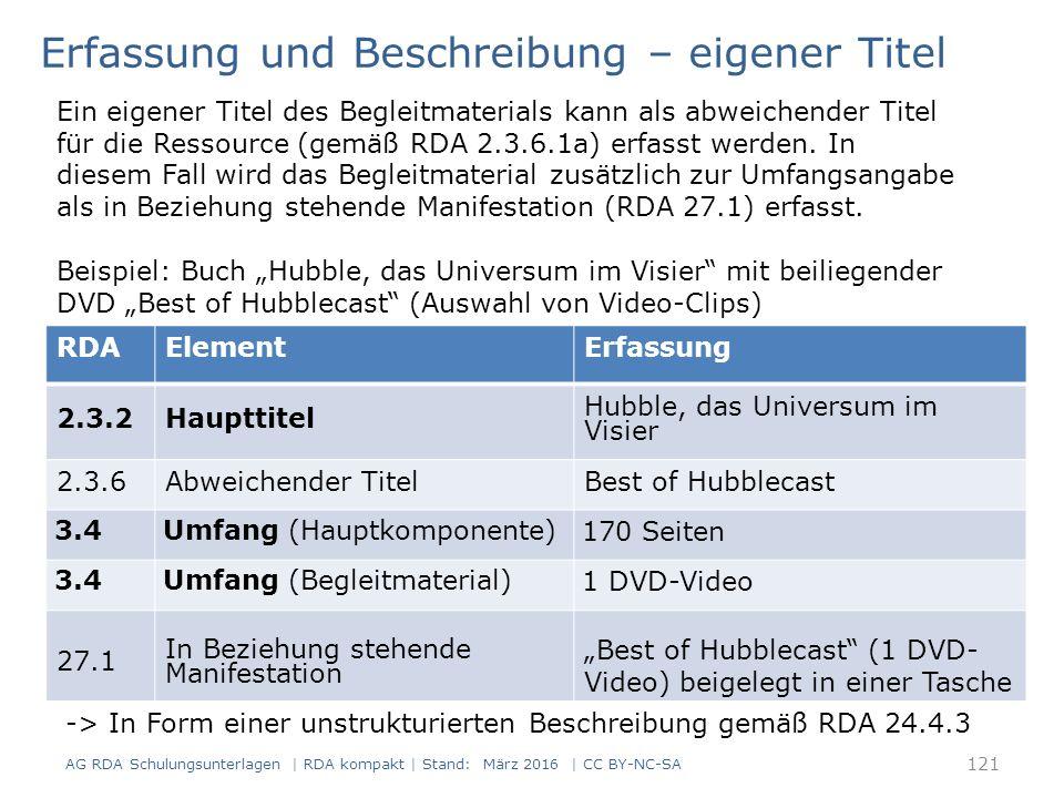 """RDAElementErfassung 2.3.2Haupttitel Hubble, das Universum im Visier 2.3.6Abweichender TitelBest of Hubblecast 3.4Umfang (Hauptkomponente) 170 Seiten 3.4Umfang (Begleitmaterial) 1 DVD-Video 27.1 In Beziehung stehende Manifestation """"Best of Hubblecast (1 DVD- Video) beigelegt in einer Tasche Erfassung und Beschreibung – eigener Titel Ein eigener Titel des Begleitmaterials kann als abweichender Titel für die Ressource (gemäß RDA 2.3.6.1a) erfasst werden."""