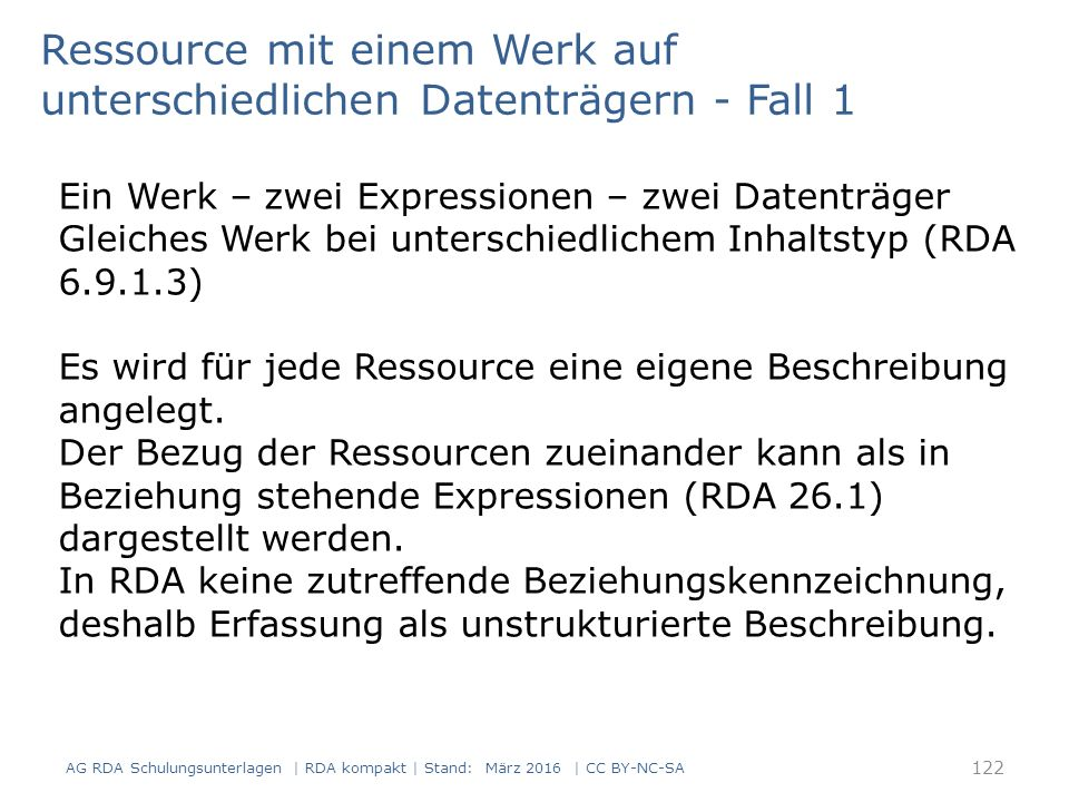 Ein Werk – zwei Expressionen – zwei Datenträger Gleiches Werk bei unterschiedlichem Inhaltstyp (RDA 6.9.1.3) Es wird für jede Ressource eine eigene Beschreibung angelegt.