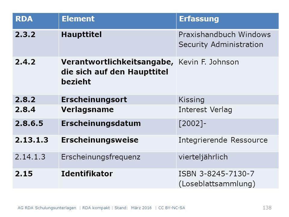 138 RDAElementErfassung 2.3.2Haupttitel Praxishandbuch Windows Security Administration 2.4.2 Verantwortlichkeitsangabe, die sich auf den Haupttitel bezieht Kevin F.