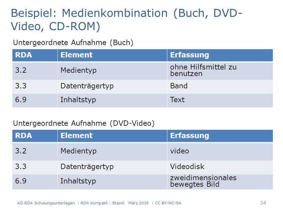 AG RDA Schulungsunterlagen | RDA kompakt | Stand: März 2016 | CC BY-NC-SA 34 RDAElementErfassung 3.2Medientyp ohne Hilfsmittel zu benutzen 3.3DatenträgertypBand 6.9InhaltstypText Beispiel: Medienkombination (Buch, DVD- Video, CD-ROM) Untergeordnete Aufnahme (Buch) RDAElementErfassung 3.2Medientypvideo 3.3DatenträgertypVideodisk 6.9Inhaltstyp zweidimensionales bewegtes Bild Untergeordnete Aufnahme (DVD-Video)