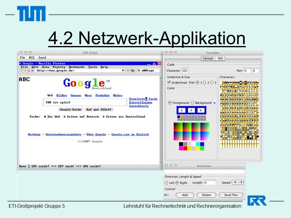 ETI-Großprojekt Gruppe 5 4.2 Netzwerk-Applikation Lehrstuhl für Rechnertechnik und Rechnerorganisation