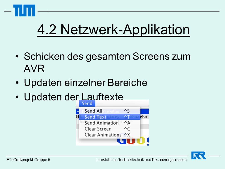 ETI-Großprojekt Gruppe 5 4.2 Netzwerk-Applikation Schicken des gesamten Screens zum AVR Updaten einzelner Bereiche Updaten der Lauftexte Lehrstuhl für Rechnertechnik und Rechnerorganisation
