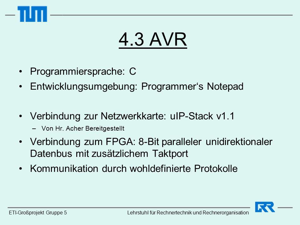 4.3 AVR Programmiersprache: C Entwicklungsumgebung: Programmer's Notepad Verbindung zur Netzwerkkarte: uIP-Stack v1.1 –Von Hr.