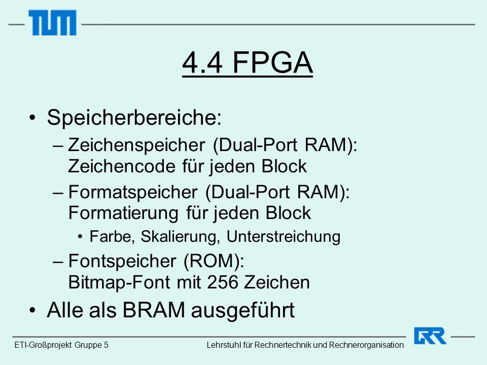 4.4 FPGA Speicherbereiche: –Zeichenspeicher (Dual-Port RAM): Zeichencode für jeden Block –Formatspeicher (Dual-Port RAM): Formatierung für jeden Block Farbe, Skalierung, Unterstreichung –Fontspeicher (ROM): Bitmap-Font mit 256 Zeichen Alle als BRAM ausgeführt ETI-Großprojekt Gruppe 5Lehrstuhl für Rechnertechnik und Rechnerorganisation