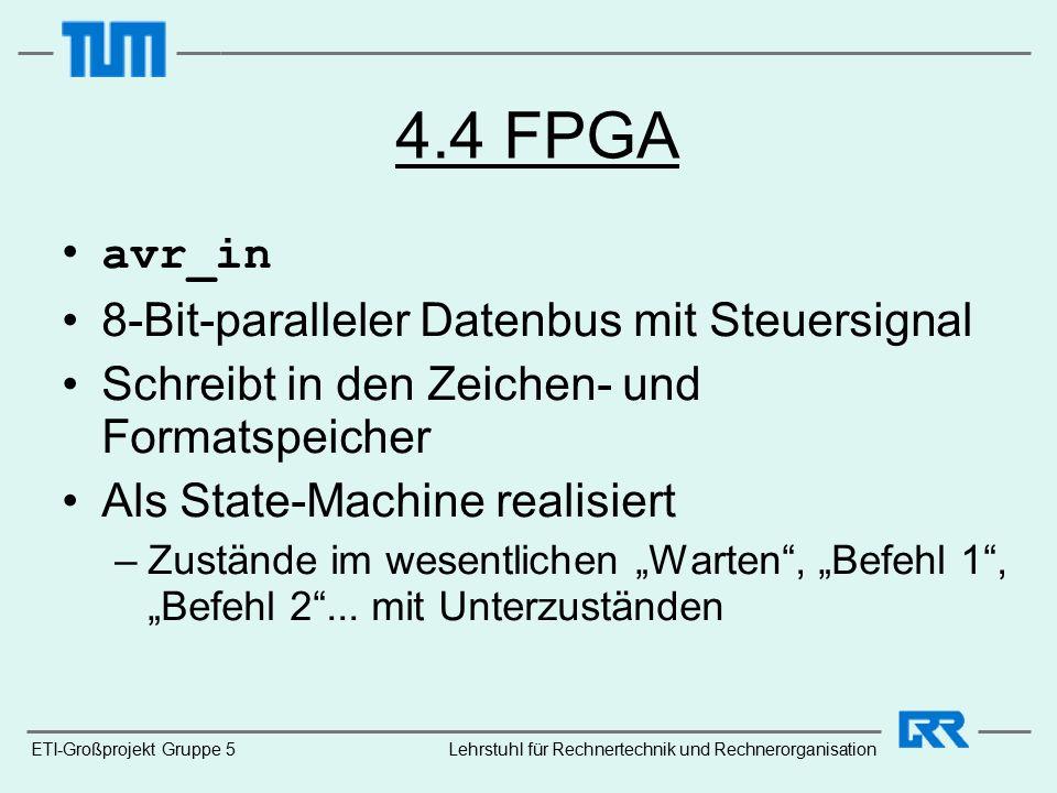 """4.4 FPGA avr_in 8-Bit-paralleler Datenbus mit Steuersignal Schreibt in den Zeichen- und Formatspeicher Als State-Machine realisiert –Zustände im wesentlichen """"Warten , """"Befehl 1 , """"Befehl 2 ..."""
