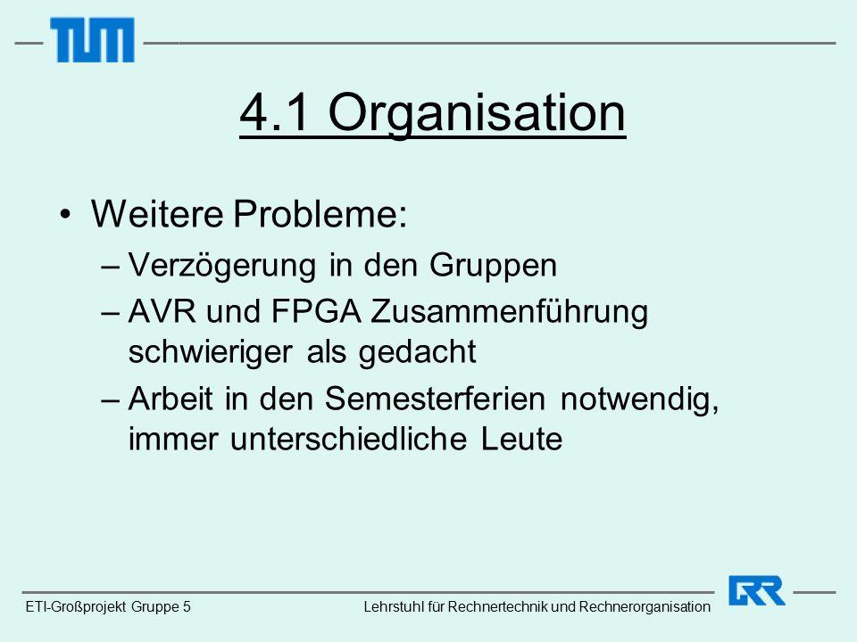 ETI-Großprojekt Gruppe 5 4.1 Organisation Weitere Probleme: –Verzögerung in den Gruppen –AVR und FPGA Zusammenführung schwieriger als gedacht –Arbeit in den Semesterferien notwendig, immer unterschiedliche Leute Lehrstuhl für Rechnertechnik und Rechnerorganisation