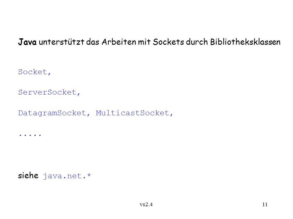 vs2.4 11 Java unterstützt das Arbeiten mit Sockets durch Bibliotheksklassen Socket, ServerSocket, DatagramSocket, MulticastSocket,.....
