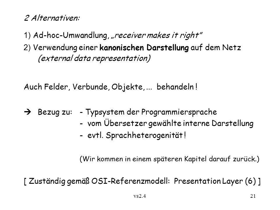 """vs2.4 21 2 Alternativen: 1) Ad-hoc-Umwandlung, """"receiver makes it right 2) Verwendung einer kanonischen Darstellung auf dem Netz (external data representation) Auch Felder, Verbunde, Objekte,..."""