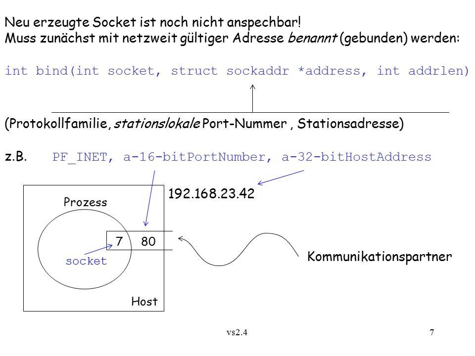 vs2.4 8 Dienst SOCK_DGRAM für Internet: verbindungslose, unzuverlässige Nachrichtenübertragung mit UDP Abstrakt: send MsgExpr to ProcExpr int sendto(int socket, char *buffer, int length, int flags, struct sockaddr *to, int addrlen) Absender socket sendet an Adressat to Abstrakt: recv MsgVar from ProcVar int recvfrom(int socket, char *buffer, int length, int flags, struct sockaddr *from, int *addrlen) socket empfängt an ihn gesendete Nachricht sowie Absender
