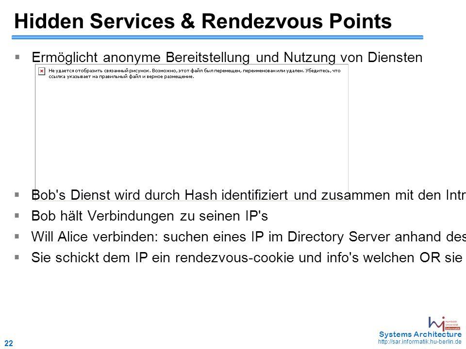 22 May 2006 - 22 Systems Architecture http://sar.informatik.hu-berlin.de Hidden Services & Rendezvous Points  Ermöglicht anonyme Bereitstellung und Nutzung von Diensten  Bob s Dienst wird durch Hash identifiziert und zusammen mit den Introduction Points (IP) in einem Directory Server gespeichert  Bob hält Verbindungen zu seinen IP s  Will Alice verbinden: suchen eines IP im Directory Server anhand des Hashes  Sie schickt dem IP ein rendezvous-cookie und info s welchen OR sie als Rendezvous-Point gewählt hat, danach verbindet sie sich dorthin und wartet auf Bob