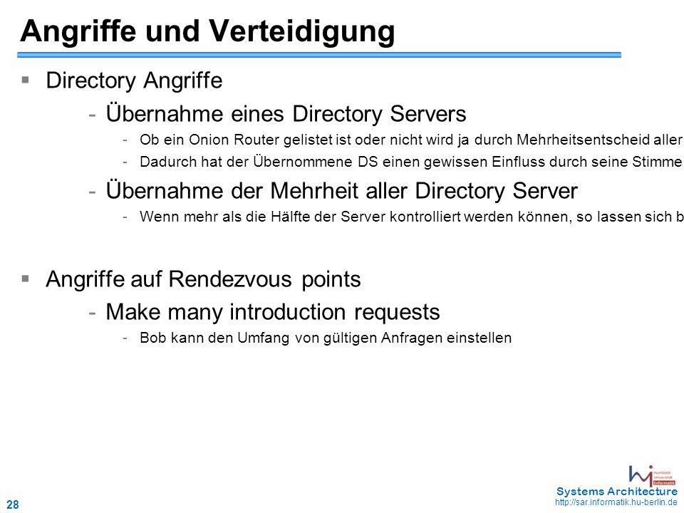28 May 2006 - 28 Systems Architecture http://sar.informatik.hu-berlin.de Angriffe und Verteidigung  Directory Angriffe - Übernahme eines Directory Servers - Ob ein Onion Router gelistet ist oder nicht wird ja durch Mehrheitsentscheid aller Directory Server bestimmt.