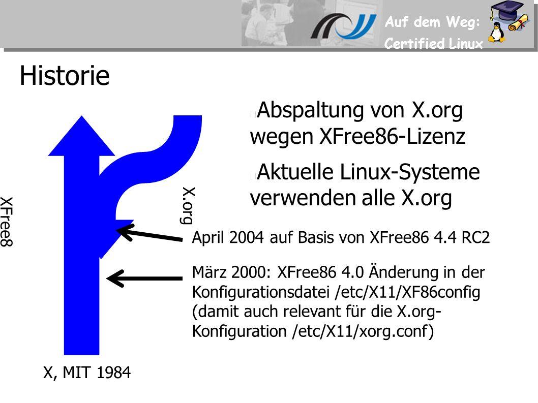 Auf dem Weg: Certified Linux Historie XFree8 6 X.org Abspaltung von X.org wegen XFree86-Lizenz Aktuelle Linux-Systeme verwenden alle X.org April 2004 auf Basis von XFree86 4.4 RC2 X, MIT 1984 März 2000: XFree86 4.0 Änderung in der Konfigurationsdatei /etc/X11/XF86config (damit auch relevant für die X.org- Konfiguration /etc/X11/xorg.conf)